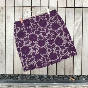 LOFT Purple & Cream Floral Print Zip Up Mini Skirt